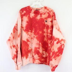 Vtg Champion Mens XL Acid Wash Sweatshirt Red